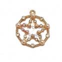 Pendente Latão AQ Redondo com Estrela Pérolas e Brilhantes - Dourado (22mm)