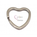 Argola Aço Inox Coração para Porta-Chaves - Prateado (32mm)