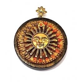 Pendente Madeira Étnico Sol - Dourado (47mm)