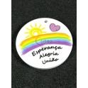 Pendente Acrílico Arco Iris «Esperança Alegria União» (30mm)