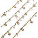 Corrente Aço Inox com Brilhantes e Pérolas - Dourada [97cm]