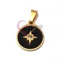 Pendente Aço Inox Redondo Fundo Preto Estrela e Brilhante - Dourado (15mm)