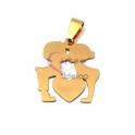 Pendente Aço Inox Namorados com Coração - Dourado (25x22mm)
