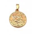 Pendente Aço Inox Anjo Botticelli Relevo - Dourado (20mm)