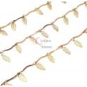 Corrente Aço Inox com Pendentes Folhas - Dourado [98cm]