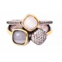 Anel Aço Inox Vintage Geometrias - Prateado com Dourado