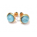 Brincos Aço Inox Meia Bolinha Azul - Dourado (10mm)