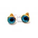 Brincos Aço Inox Olhos Azuis - Dourado (10mm)