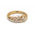 Anel Aço Inox Brilhantes Crescentes - Dourado