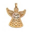 Pendente Aço Inox Anjo com Brilhantes - Dourado (45x42mm)