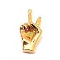 Pendente Aço Inox Mão Vitória - Dourado (40x17mm)