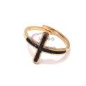 Anel Aço Inox Ajustável Cruz Cristais Pretos - Dourado