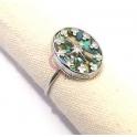 Anel Aço Inox Ajustável Efeito Pedra Multicolor com Estrelas - Prateado