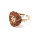 Anel Aço Inox Ajustável Recorte Estrela Cristais Castanhos - Dourado