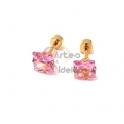 Brincos Aço Inox Cristais Quadrados Rosa - Dourado (7mm)