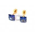 Brincos Aço Inox Cristais Quadrados Azuis - Dourado (7mm)