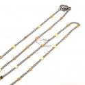 Fio Aço Inox Completo Malha Espalmada Fina com Pontos Dourados - Prateado [45cm]