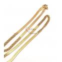 Fio Aço Inox Completo Malha Espalmada Corrente Intercalada - Dourado [45cm]