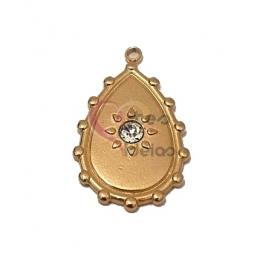Pendente Aço Inox Lágrima com Brilhante - Dourado (28x18mm)