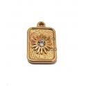 Pendente Aço Inox Quadrado Flor com Brilhante - Dourado (15x10mm)