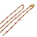 Fio Aço Inox Completo Missanga Fuchsia - Dourado [45cm]