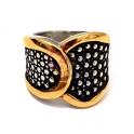 Anel Aço Inox Vintage Dots - Prateado com Dourado