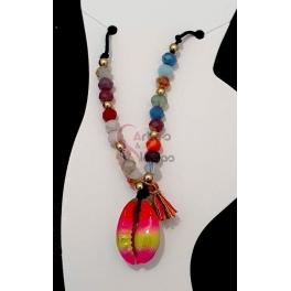 Pulseira Tornozelo Beachware Cristais com Buzio Estilizado - Multicolor