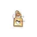 Pendente Latão AQ Cadeado com Recorte Coração - Dourado (13x7mm)