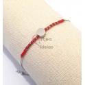 Pulseira Aço Inox Missanga com Pecinha Central [Vermelha] - Prateada