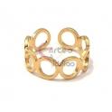 Anel Ajustável Aço Inox Circles - Dourado