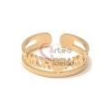 Anel Ajustável Aço Inox Amor - Dourado