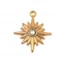 Pendente Aço Inox Estrela com Brilhante - Dourado (22x20mm)