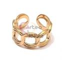 Anel Aço Inox Ajustável Cadeia Dupla - Dourado