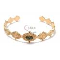 Pulseira Aço Inox Cuff Ovais Pedra Verde - Dourada