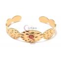 Pulseira Aço Inox Cuff Ovais Marteladas Pedra Rosa - Dourada