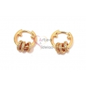 Brincos Crystal Deluxe Argola com Argolinhas de Zircónias - Dourado