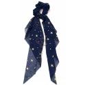 Elástico com Pontas Azul Escuro Estrelas Douradas