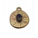 Pendente Latão AQ Irregular Pedra Oval Lapis Lazuli - Dourado (18x15mm)