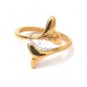 Anel Aço Inox Caudas - Dourado