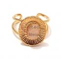 Anel Aço Inox Ajustável Oval Floral Quartzo Rosa - Dourado