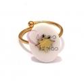Anel Aço Inox Ajustável Oval Branca com Estrela - Dourado