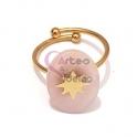 Anel Aço Inox Ajustável Oval Rosa com Estrela - Dourado