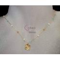 Fio Aço Inox Essencials Cristais Cores Medalha Mar [2] - Dourado
