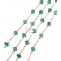 Corrente Aço Inox Pedras Semi-Preciosas Donuts Ágata Azul [4x2] - Dourado [97cm]