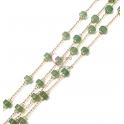 Corrente Aço Inox Pedras Semi-Preciosas Donuts Jade Verde [4x2] - Dourado [97cm]