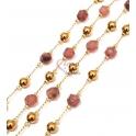 Corrente Aço Inox Bolas e Pedras Semi-Preciosas Facetadas Rosa Velho [5mm] - Dourado [97cm]