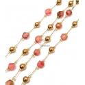 Corrente Aço Inox Bolas e Pedras Semi-Preciosas Facetadas Rosa Morango [5mm] - Dourado [97cm]