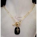 Fio Aço Inox Pedra Facetada, Cruz de Brilhantes [Preto] - Dourado