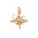 Pendente Latão AQ Estrela de Pontas com Zircónias - Dourado (15mm)