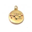 Pendente Latão AQ Signo Leão Constelação Zircónias - Dourado (15mm)